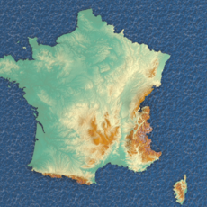 3d map France with relief 5k 3D Model