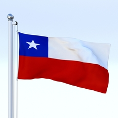 Animated Chile Flag 3D Model