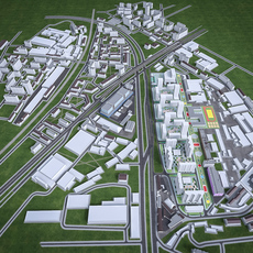 Residential and Industrial Urban Area 3D Model