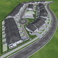 Residential Area Neighborhood Houses 3D Model