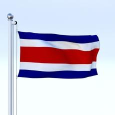Animated Costa Rica Flag 3D Model