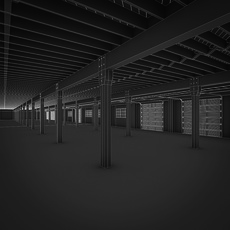 Art Deco Industrial Building Interior 3D Model