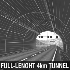 Full-Lenght Tunnel with Terrain 3D Model