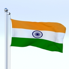 Animated India Flag 3D Model
