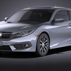 Honda Civic Coupe 2017 VRAY 3D Model