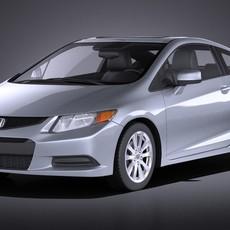 Honda Civic 2013 usa coupe VRAY 3D Model
