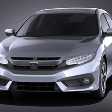 Honda Civic Sedan EX 2017 VRAY 3D Model