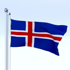 Animated Iceland Flag 3D Model