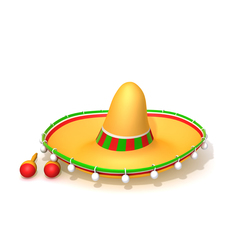 Hat Sombrero And Maracas 3D Model