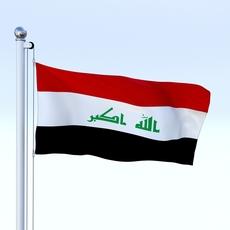 Animated Iraq Flag 3D Model
