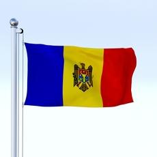 Animated Moldova Flag 3D Model