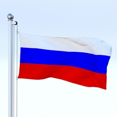 Animated Russia Flag 3D Model