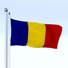 Animated Romania Flag 3D Model