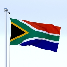 Animated South Africa Flag 3D Model