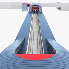 Urban Railway Train Station 3D Model