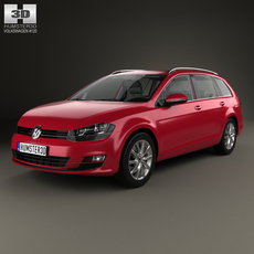 Volkswagen Golf variant with HQ interior 2014 3D Model