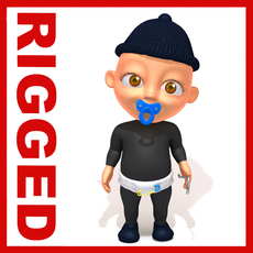 Thief baby Cartoon Rigged 3D Model