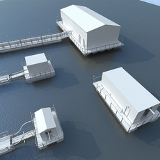 Floating Pumping Station Collection 3D Model
