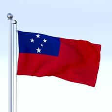 Animated Samoa Flag 3D Model