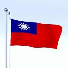 Animated Taiwan Flag 3D Model