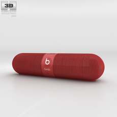 Beats Pill 2.0 Wireless Speaker Red 3D Model
