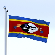 Animated Swaziland Flag 3D Model