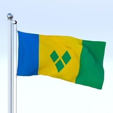 Animated Saint Vincent and the Grenadines Flag 3D Model