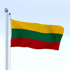 Animated Lithuania Flag 3D Model