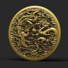 Dragon and phoenix statue 3D Model