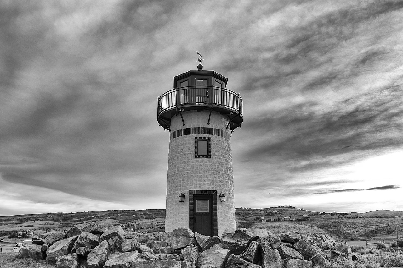 Just a black and white light house