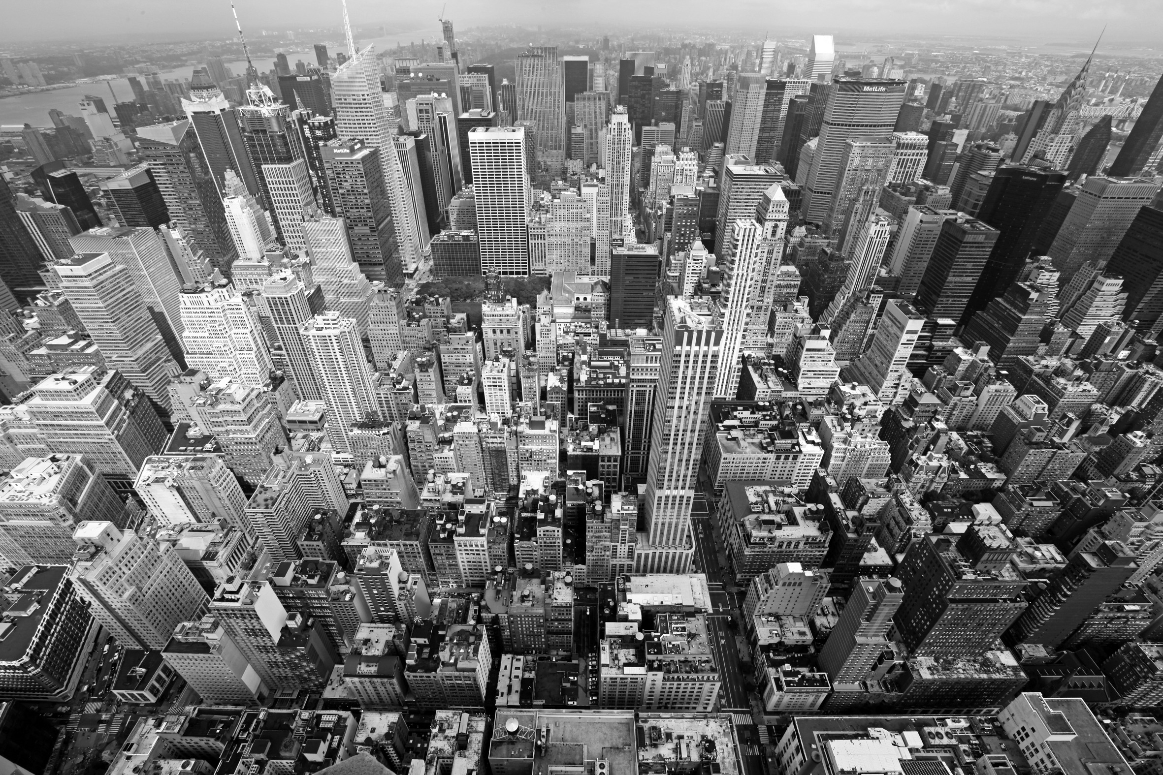 New York city aerial view in black and white