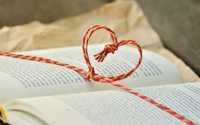 Book with heart bow