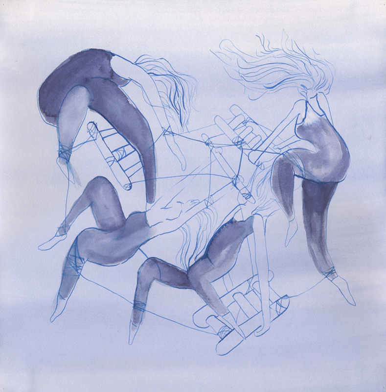 WORKS Concept drawing for Weavers in the Floating Frame of Progressive Action, ink on paper, 300 x 300mm,  2011.