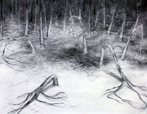 Alex Callender Drawing Charcoal on Paper