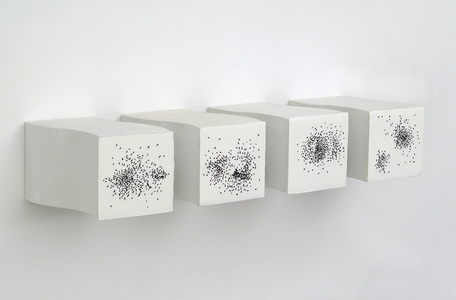 ARTicles Art Gallery Akiko Kotani silk threads stitched on paper mounted on wood
