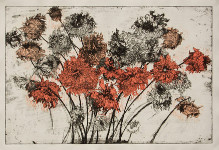 ARTicles Art Gallery Helen Gotlib etching and woodblock print on archival tan BFK Rives paper