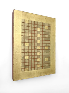 ARTicles Art Gallery Irina Moldovan acrylic, metal leaf, and 24k gold on panel