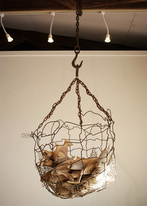 Barbara Jo Fishies and Clouds found wire basket, chain, plywood, glass, fish net