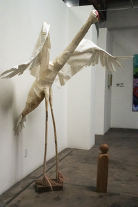 Barbara Jo Crane and Nests plant stalks, basket fiber, pine, paper mache, Japanese rice papers, paint, glass, copper wire