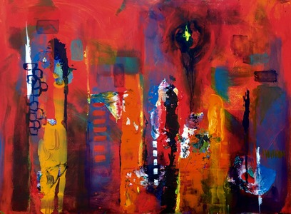 Barbara Mosher Urban Mixed Media on Canvas, unframed