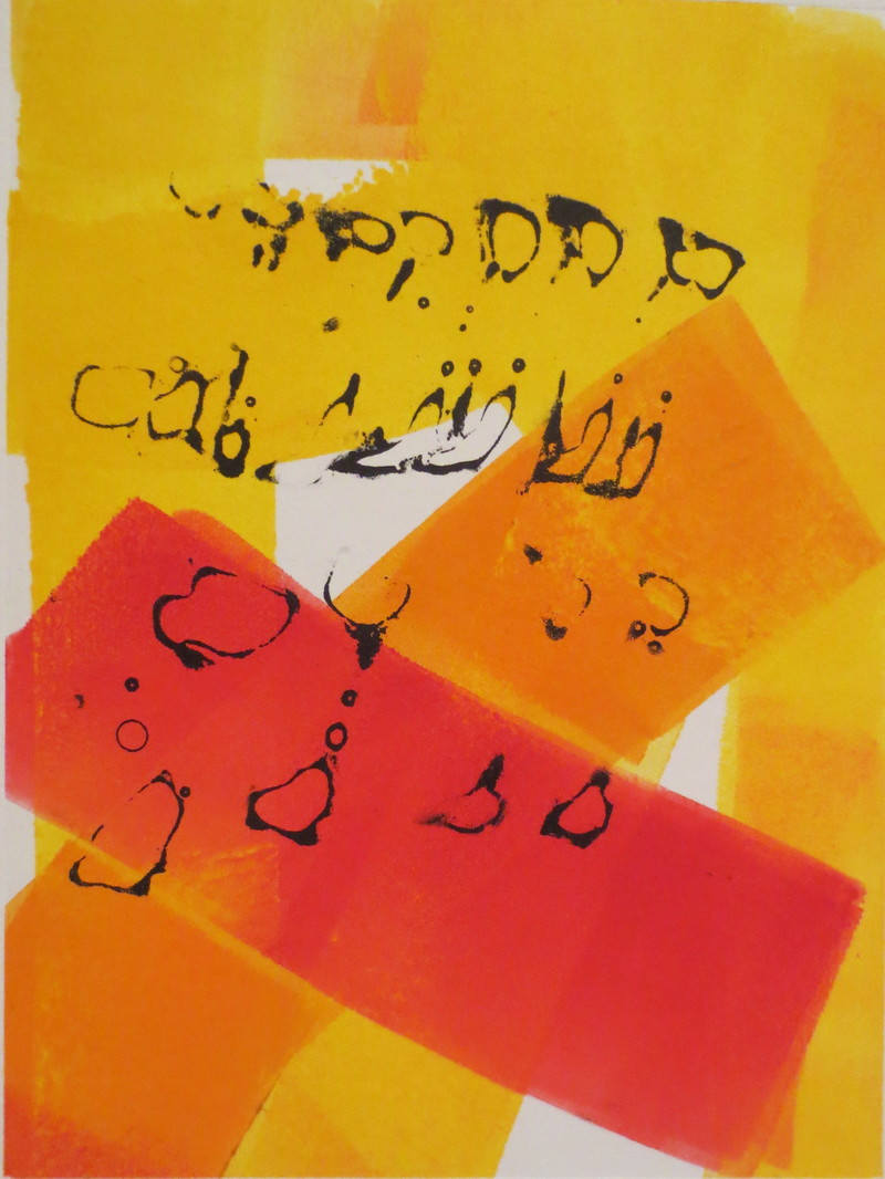 Barbara Shapiro Yellow/Orange Monotype, Pronto Plate Lithography