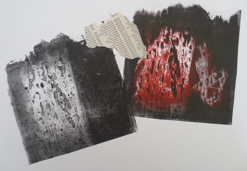 Barbara Shapiro Story of a Fire Mixed Media: Pronto Plate Lithograph, Collage, Monotype