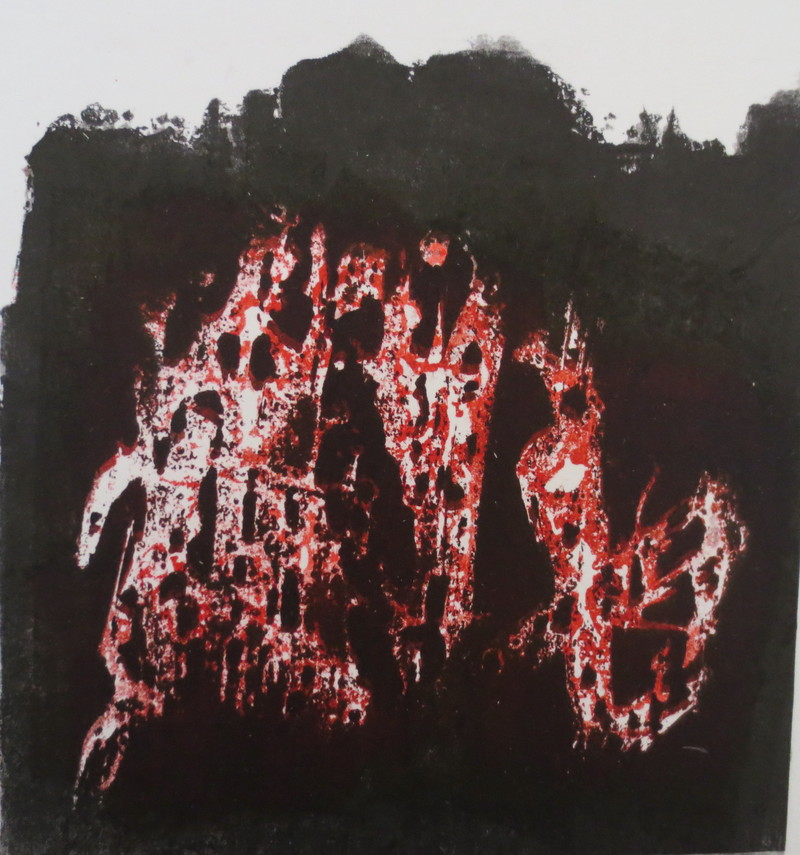 Barbara Shapiro Story of a Fire Monoprint: Pronto Plate Lithograph, Monotype