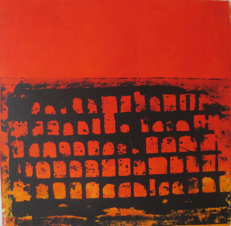 Barbara Shapiro Red and Black Monotype and Pronto Plate Lithography