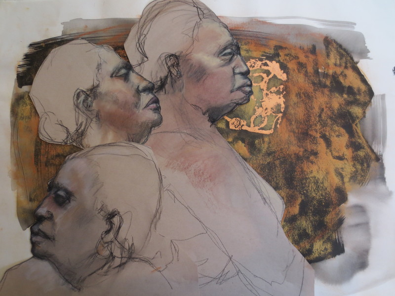 Barbara Shapiro Three Women Mixed Media