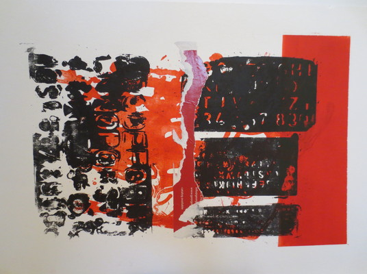 Barbara Shapiro In Other Words Mixed Media: Pronto Plate Lithography, Monotype, Collage