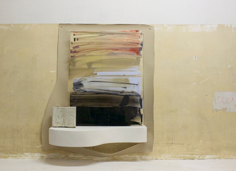Bessie Kunath Wall Flesh acrylic sheet, acrylic paint, pigment, cement, canvas, wood