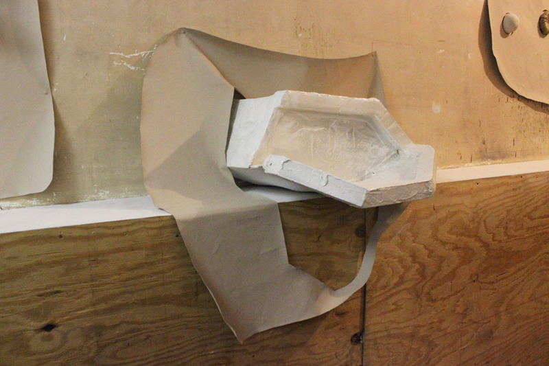 Bessie Kunath Wall Flesh cardboard, plaster, foam, caulking, latex paint, canvas