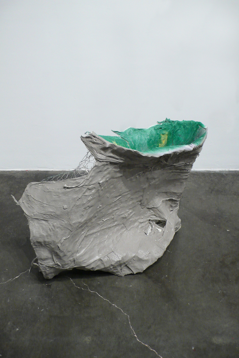 Bessie Kunath The Consequences of Leaning/Sloping Paper maché, plaster, chicken wire, cheesecloth, latex paint, spray paint
