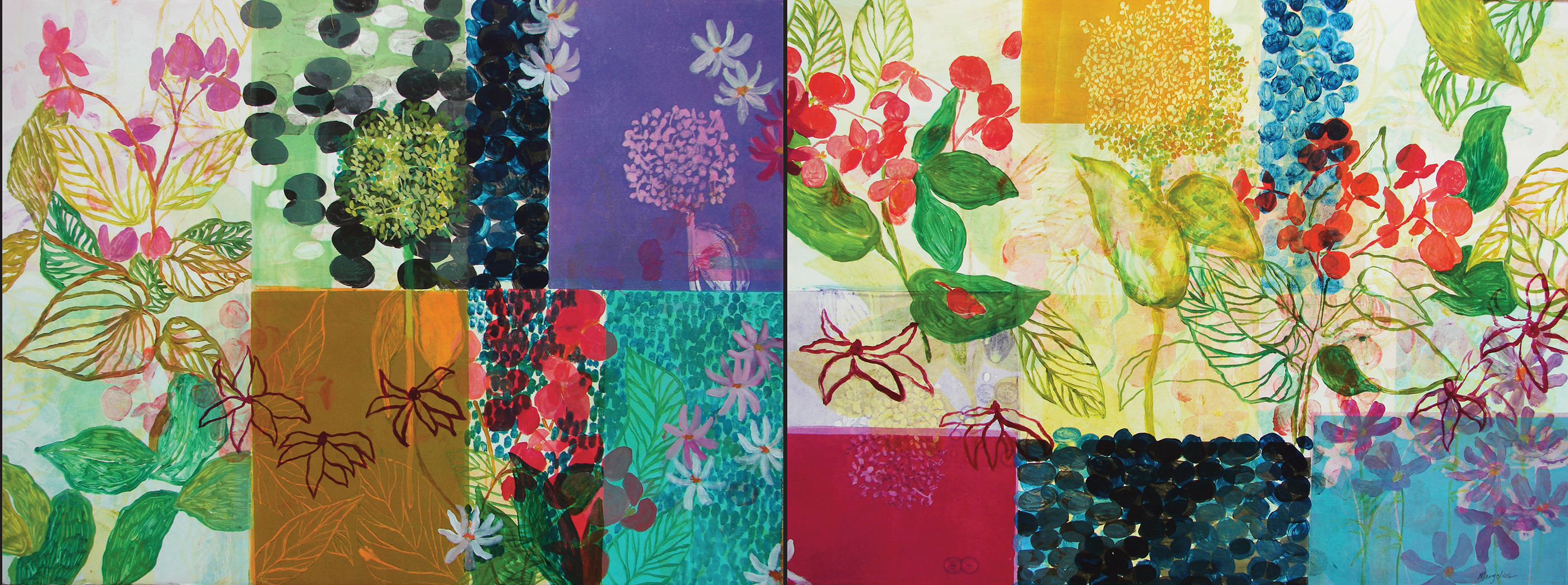 Large Diptych Monotypes August Garden